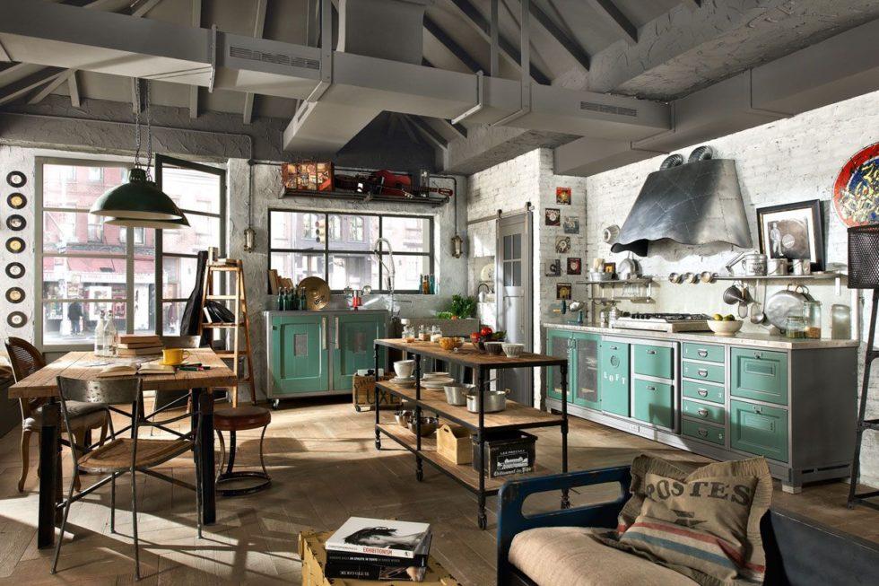 состаренная мебель кухня лофт