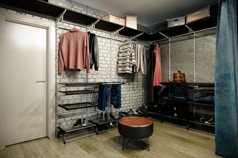 лофт гардеробная
