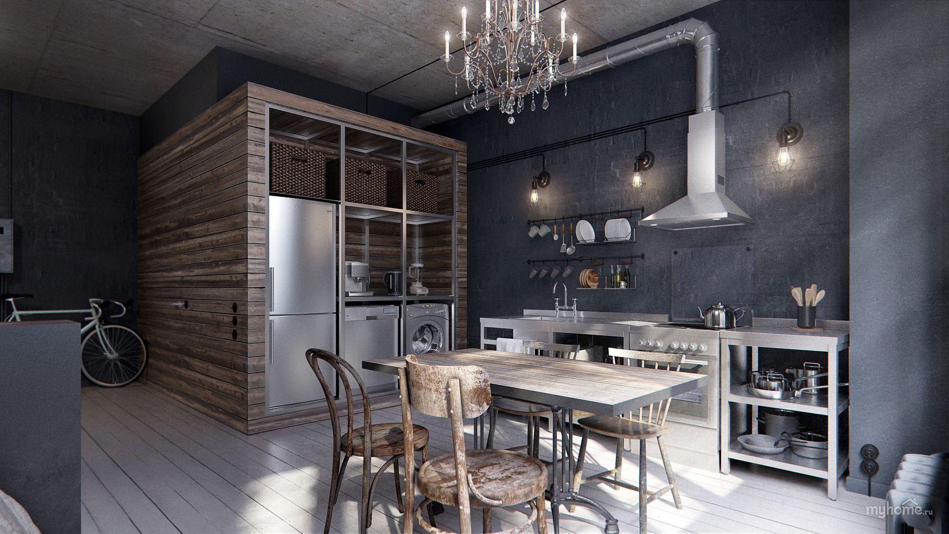грубая отделка кухня лофт