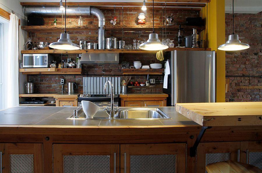 светильники в интерьере кухни лофт