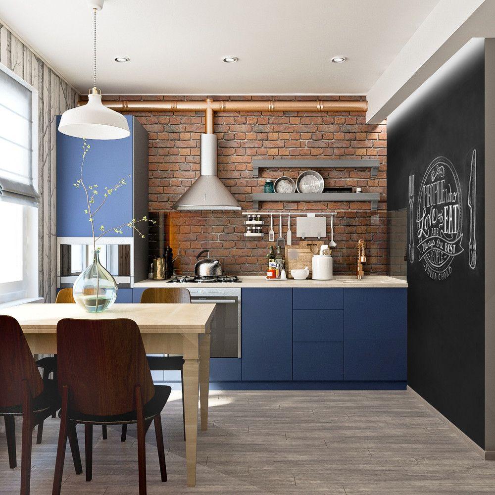 дизайн маленькой кухни лофт