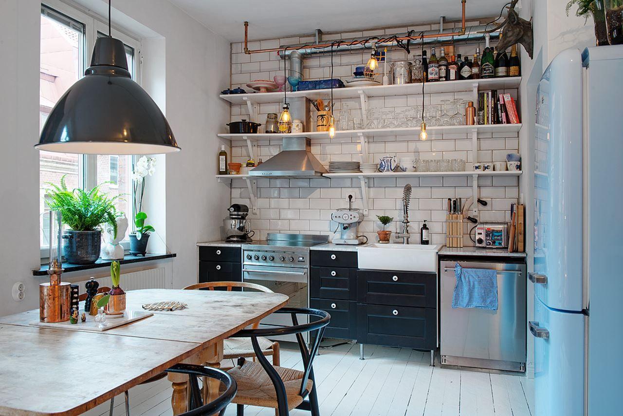 светлая кухня лофт