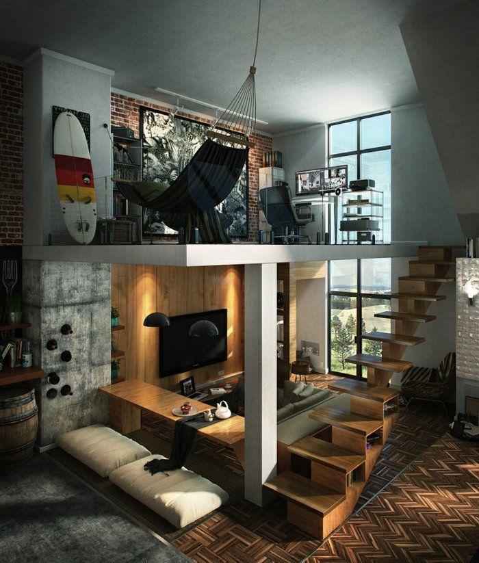 планировка лофта с высокими потолками