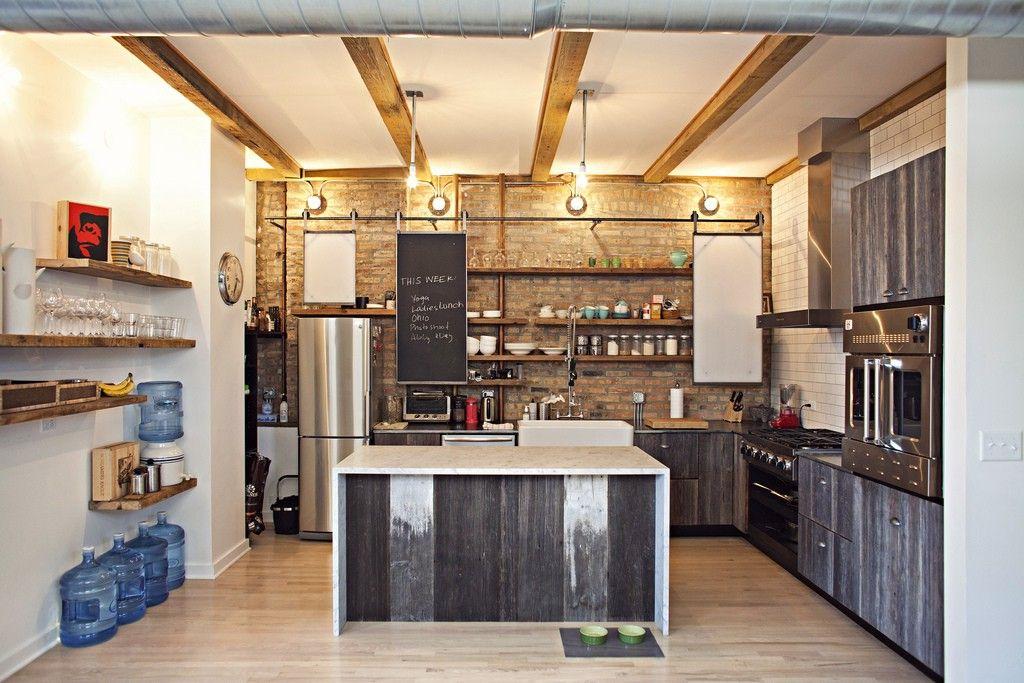 дизайн кухни с островом лофт