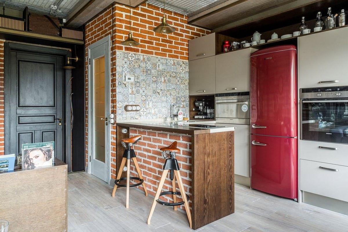 дизайн кухни лофт с барной стойкой