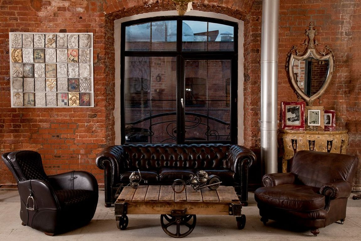 кожаная мебель в стиле лофт