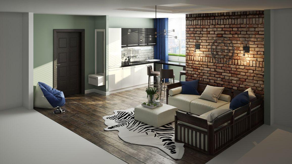 просторная квартира-студия в стиле лофт