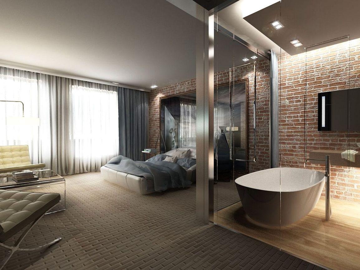 спальня с ванной в стиле лофт