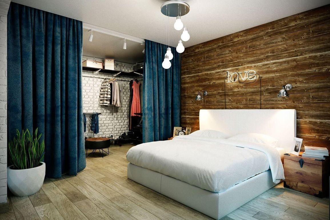 спальня с гардеробом в стиле лофт