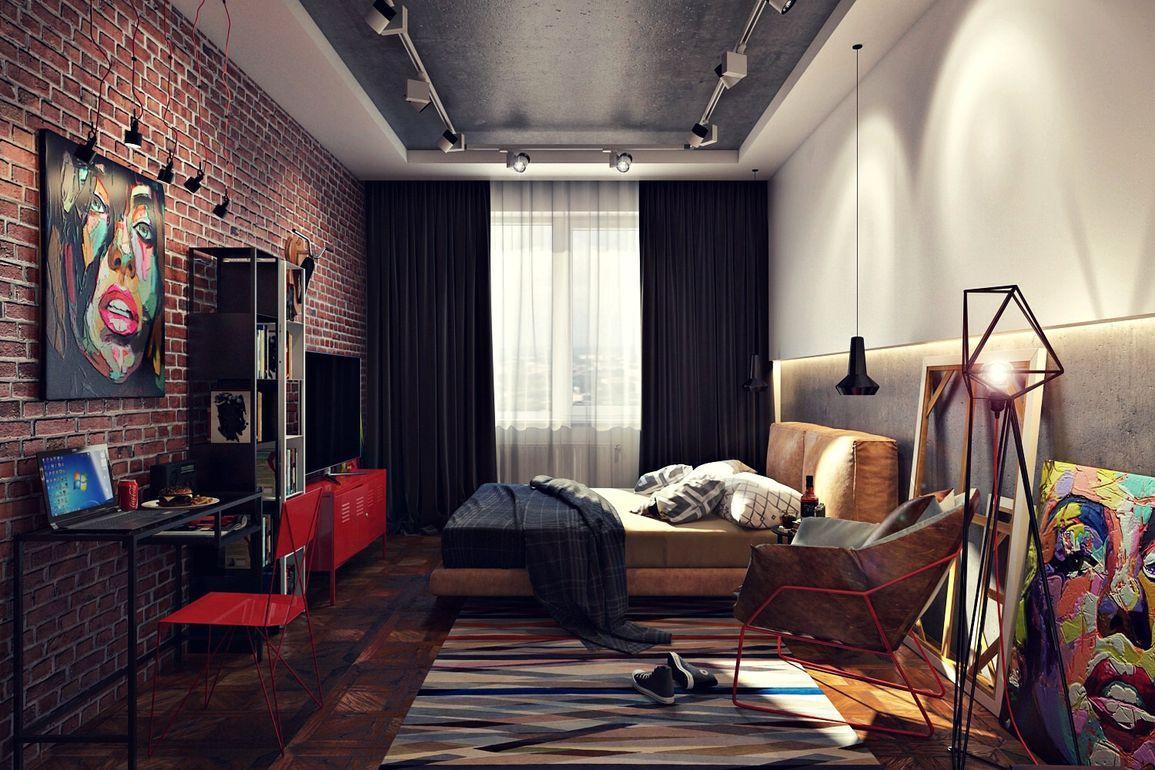 современная спальня в стиле лофт