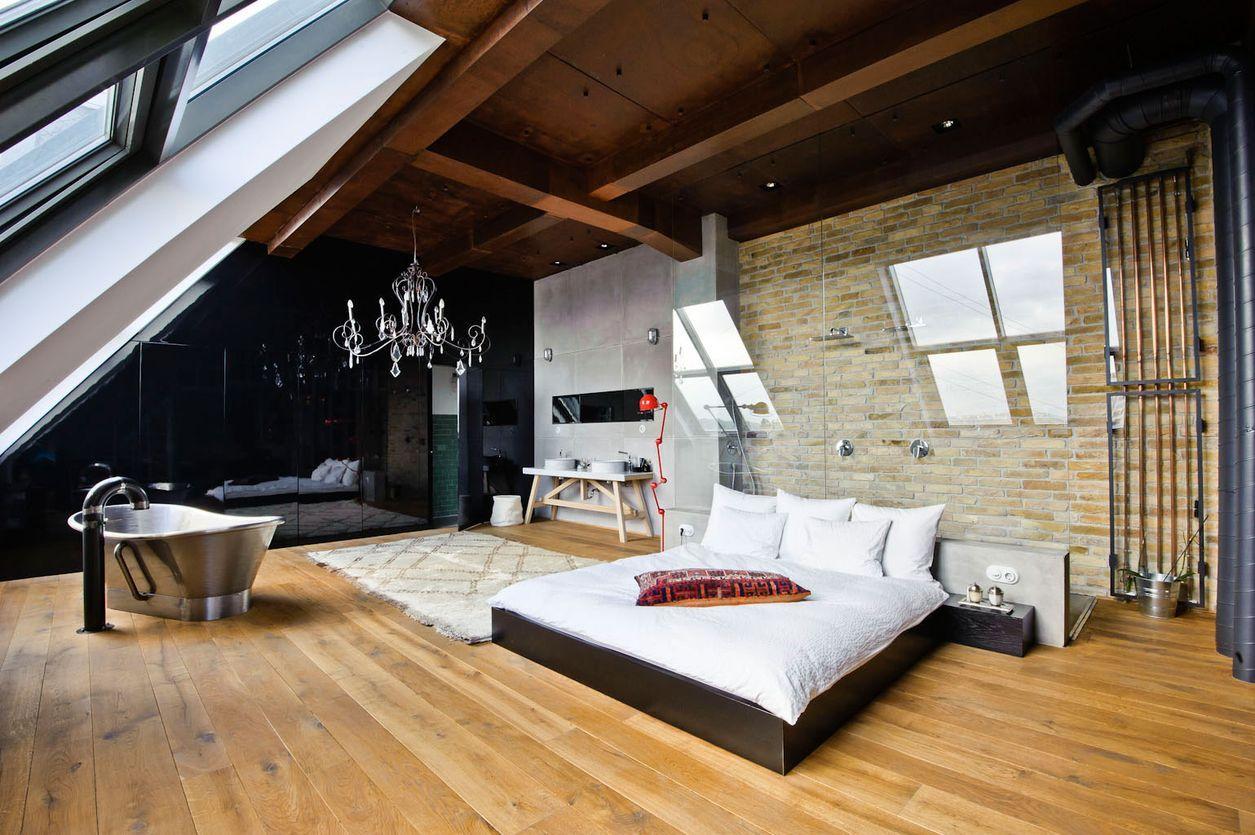 просторная спальня в стиле лофт