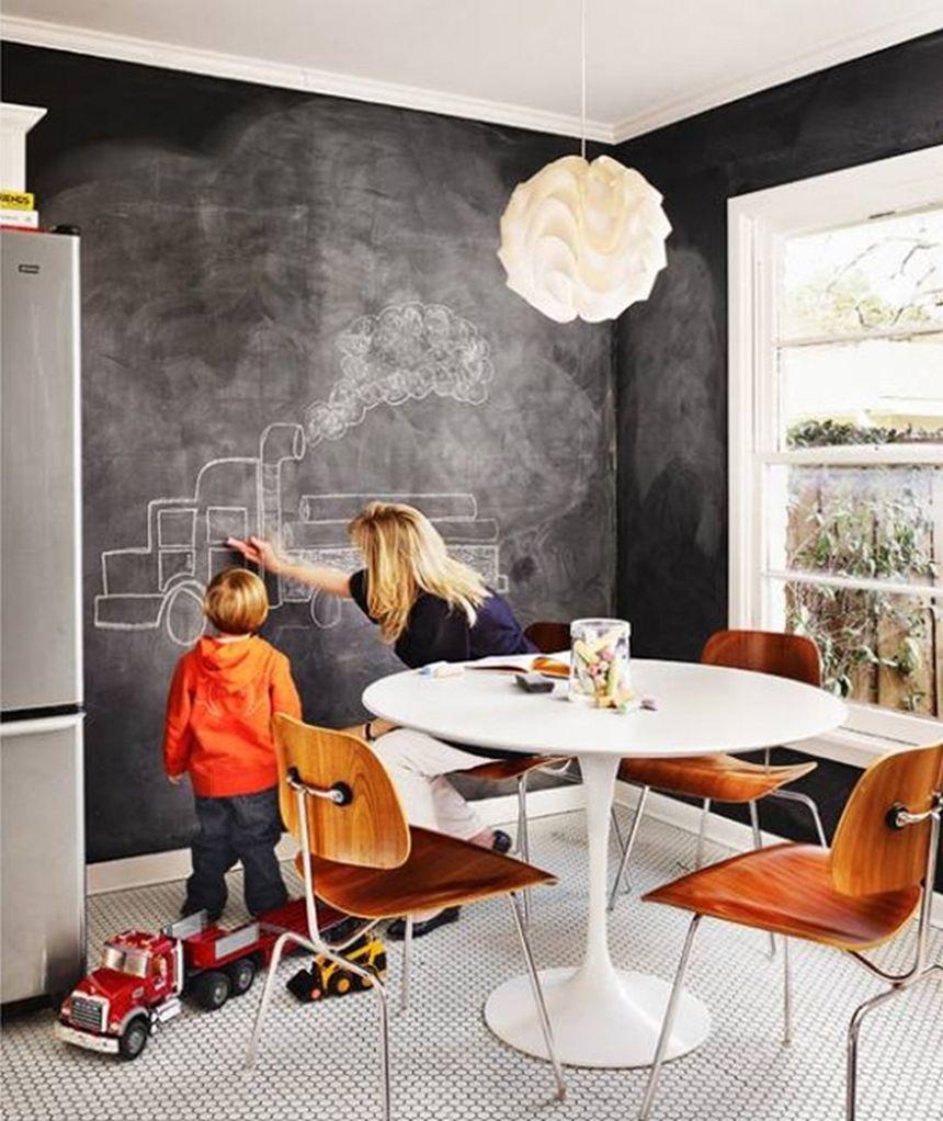 грифельная стена на кухне для детей