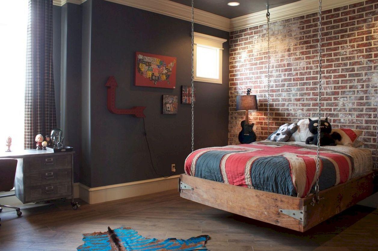 подвесная кровать в стиле лофт