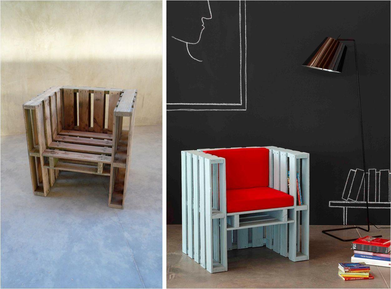 оригинальное кресло из поддонов