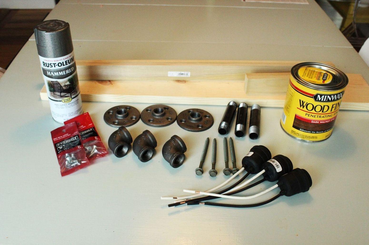 необходимые материалы для светильника в стиле лофт