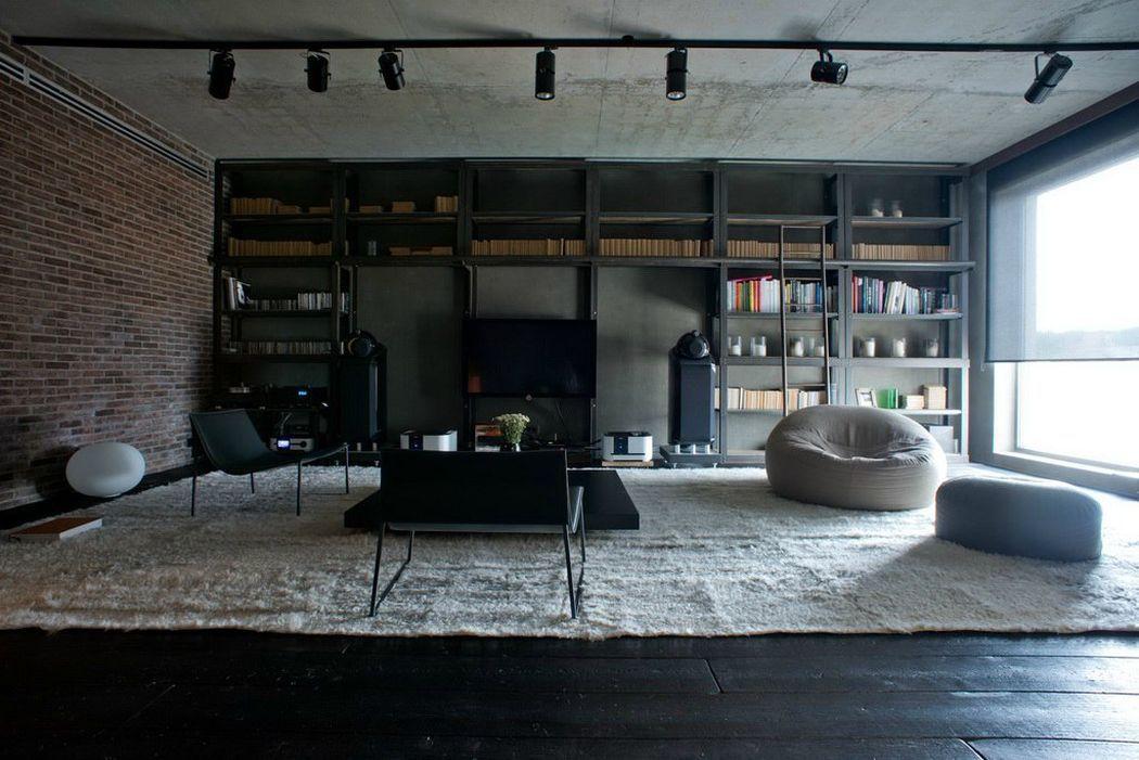 Серый лофт в интерьере гостиной