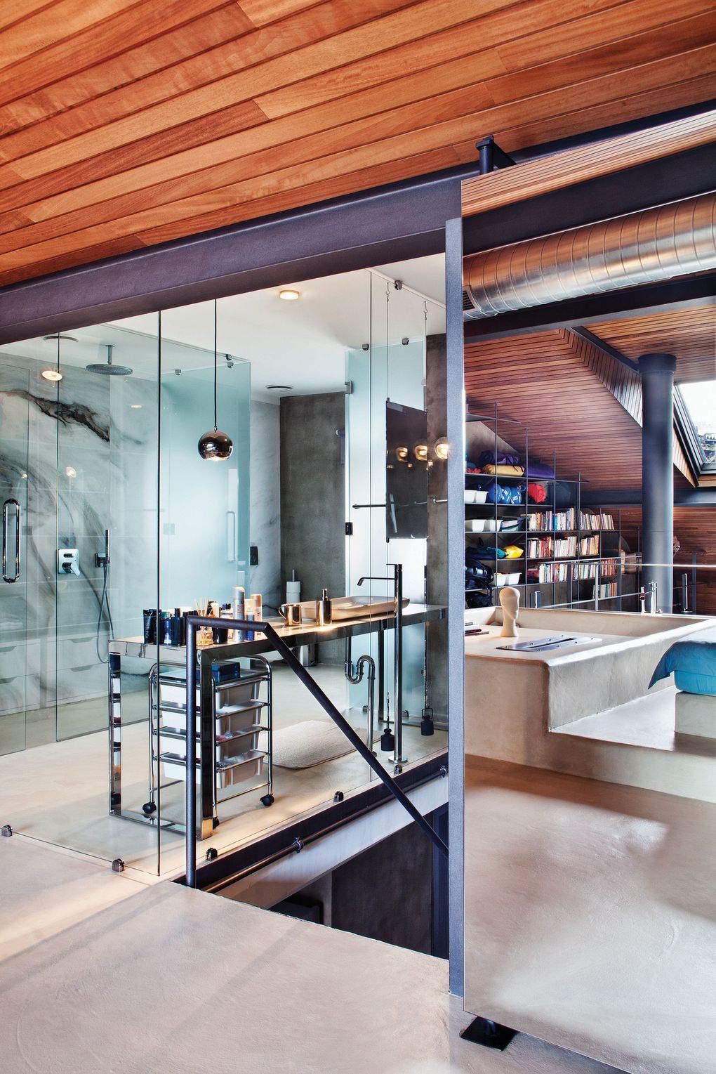 ванная лофт за стеклом