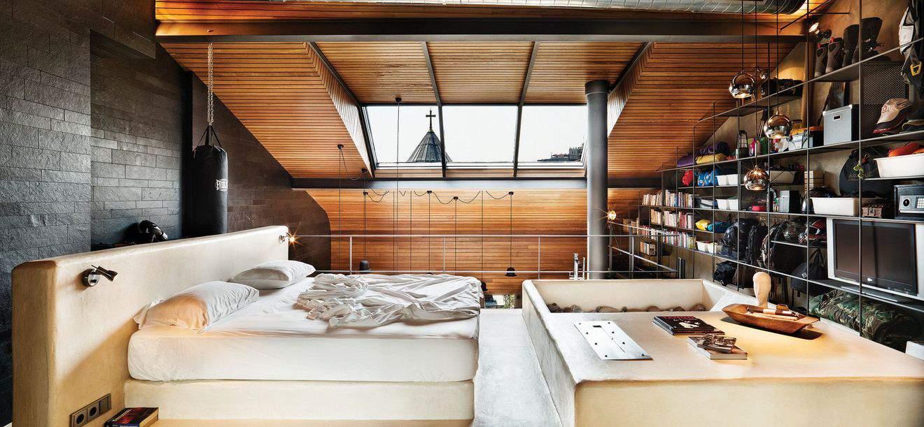 большая спальня лофт