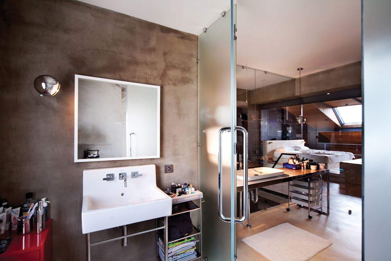 ванна лофт бетонные стены