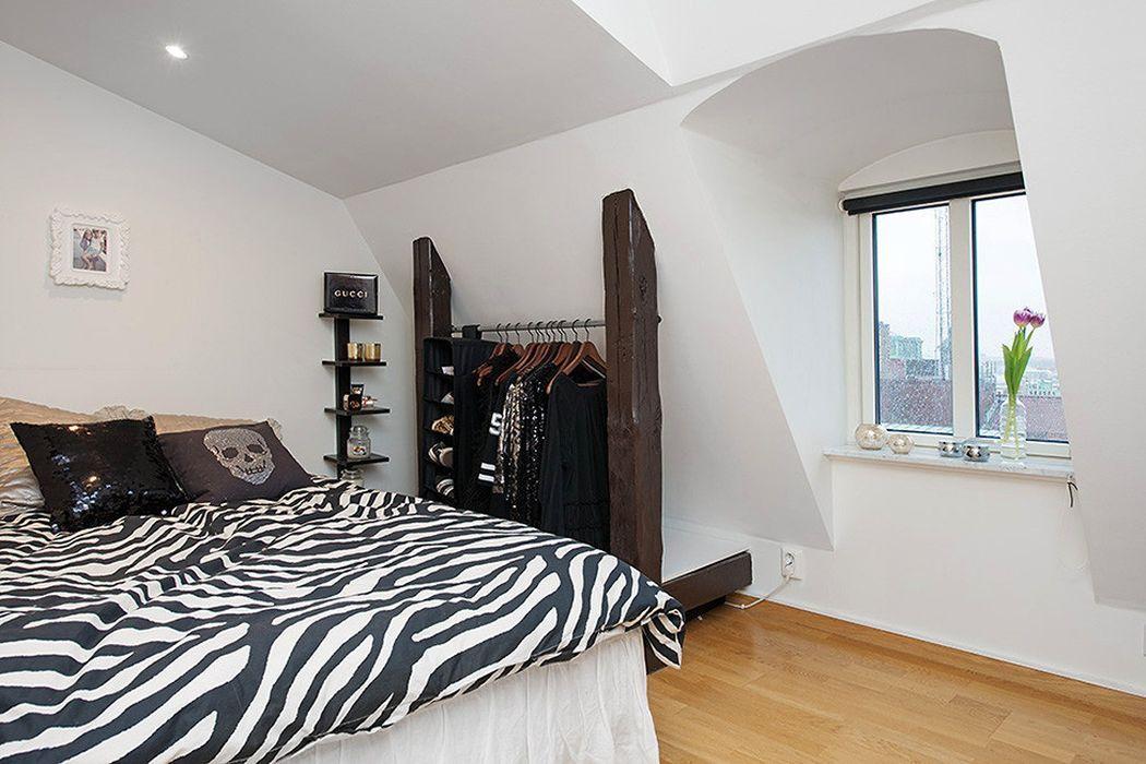 скандинавский лофт спальня
