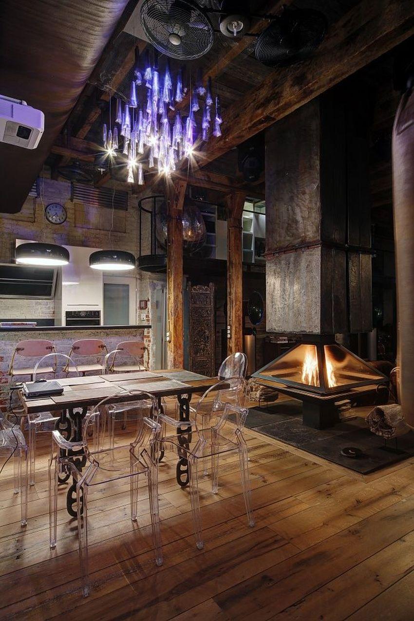 кухня с камином фото