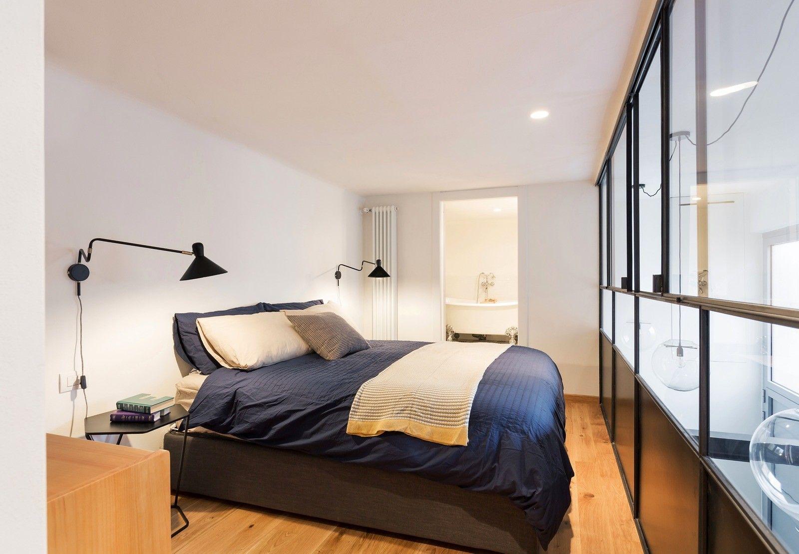спальня на втором уровне лофт