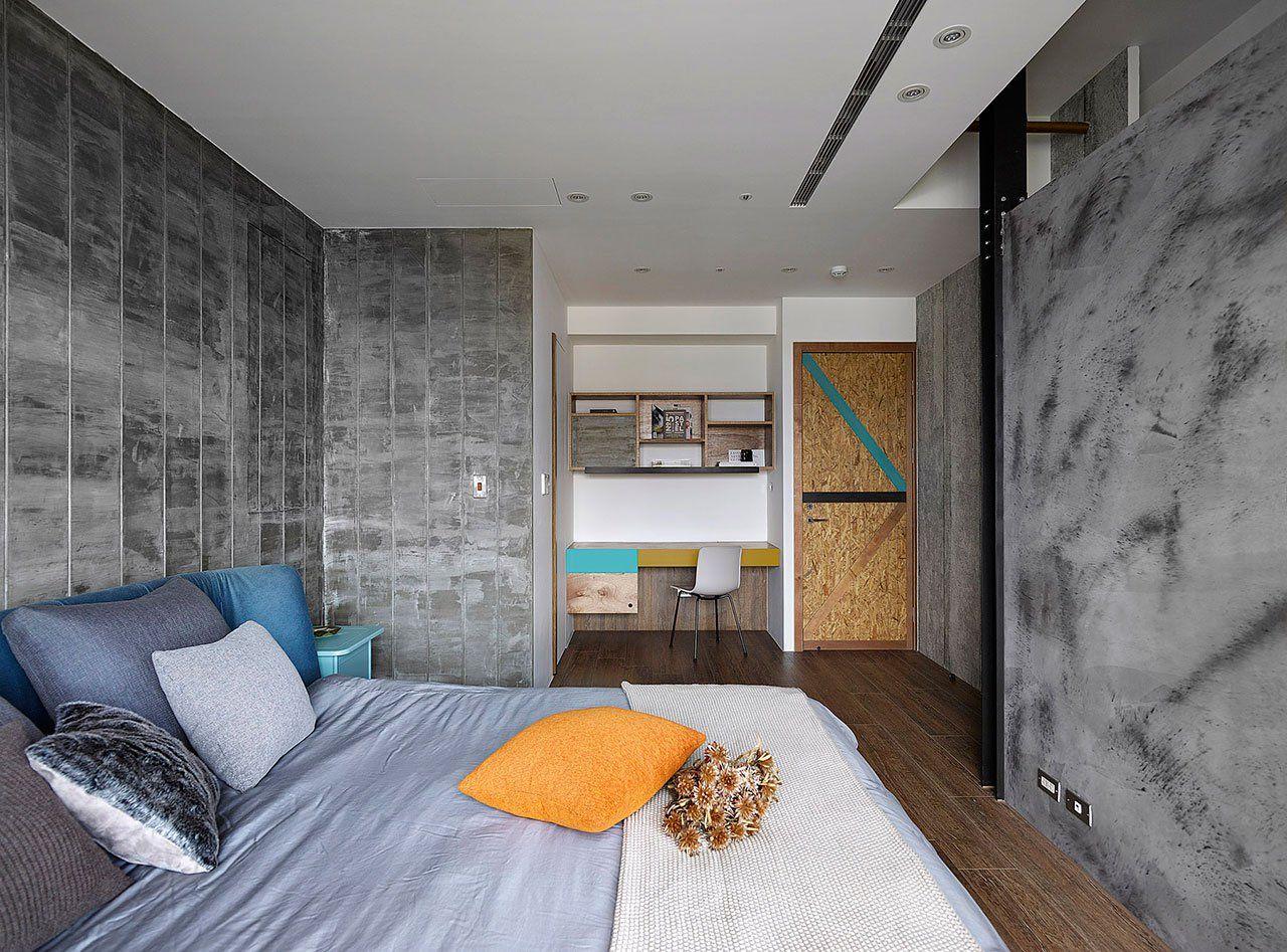 спальня лофт из бетона