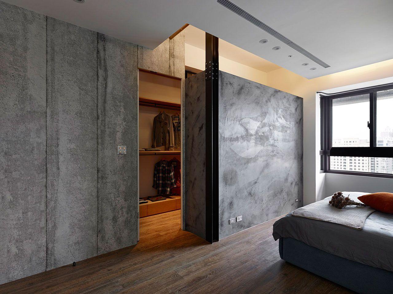 гардеробная в спальне лофт