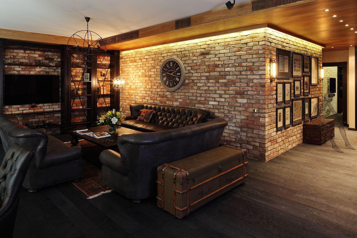 акцентирование светом в гостиной в стиле лофт
